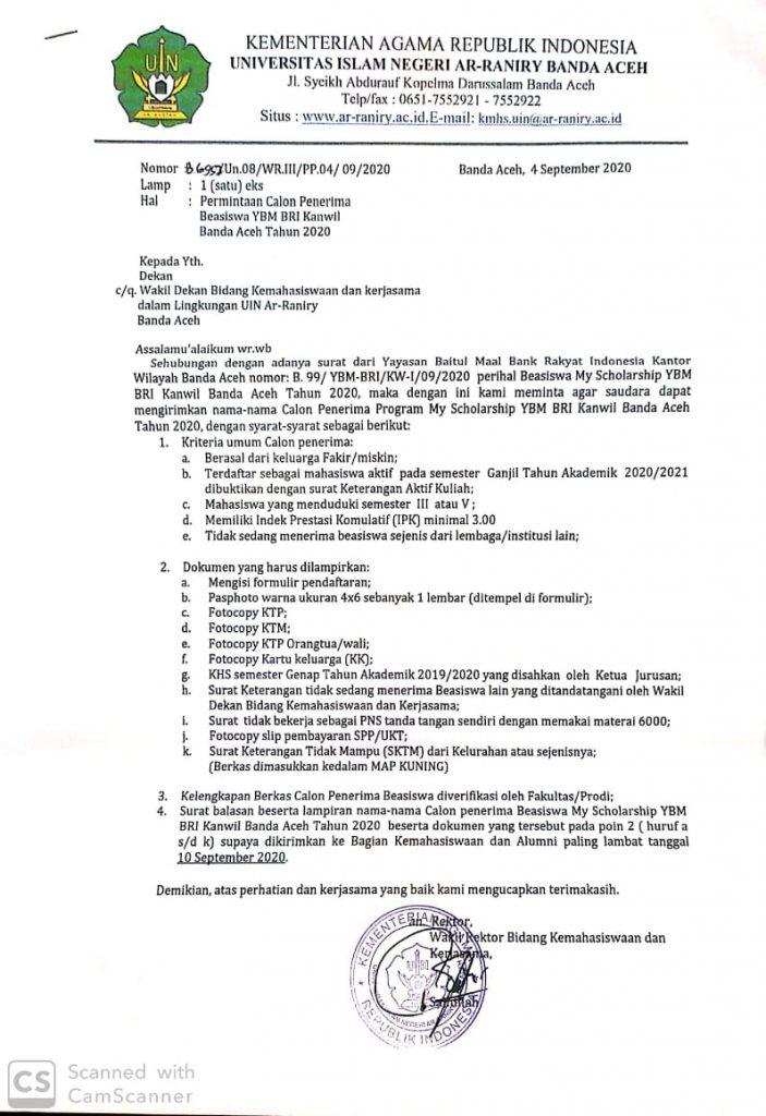 Permintaan Calon Penerima Beasiswa Ybm Bri Kanwil Banda Aceh Tahun 2020 Program Studi Ilmu Administrasi Negara
